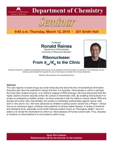 Seminar Department of Chemistry Ronald Raines Ribonuclease: