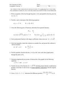 Pre Calculus 6.0 2416  Name________________________ Cumulative  Review  I