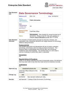 Data Governance Terminology Enterprise Data Standard Chief Data Officer