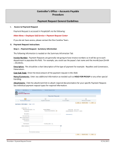 Controller's Office – Accounts Payable Procedure  Payment Request General Guidelines