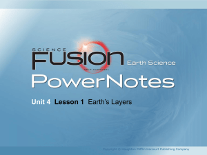 Unit 4 Lesson 1 Earth's Layers Copyright © Houghton Mifflin Harcourt Publishing Company