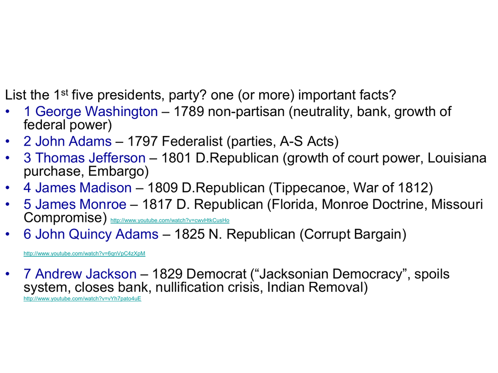 List The 1 Five Presidents Party One Or More Important Facts