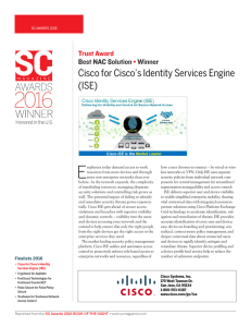 E Cisco for Cisco's Identity Services Engine (ISE) Trust Award