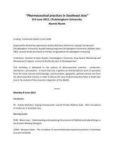 """Pharmaceutical practices in Southeast Asia"" 8-9 June 2015, Chulalongkorn University Alumni Room"