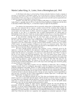 Martin luther king jr letter from birmingham jail essay