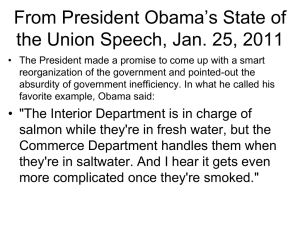 From President Obama's State of the Union Speech, Jan. 25, 2011