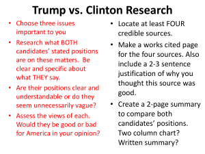 Trump vs. Clinton Research • Locate at least FOUR credible sources.
