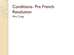 Conditions- Pre French Revolution Mrs. Craig