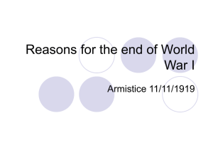 Reasons for the end of World War I Armistice 11/11/1919