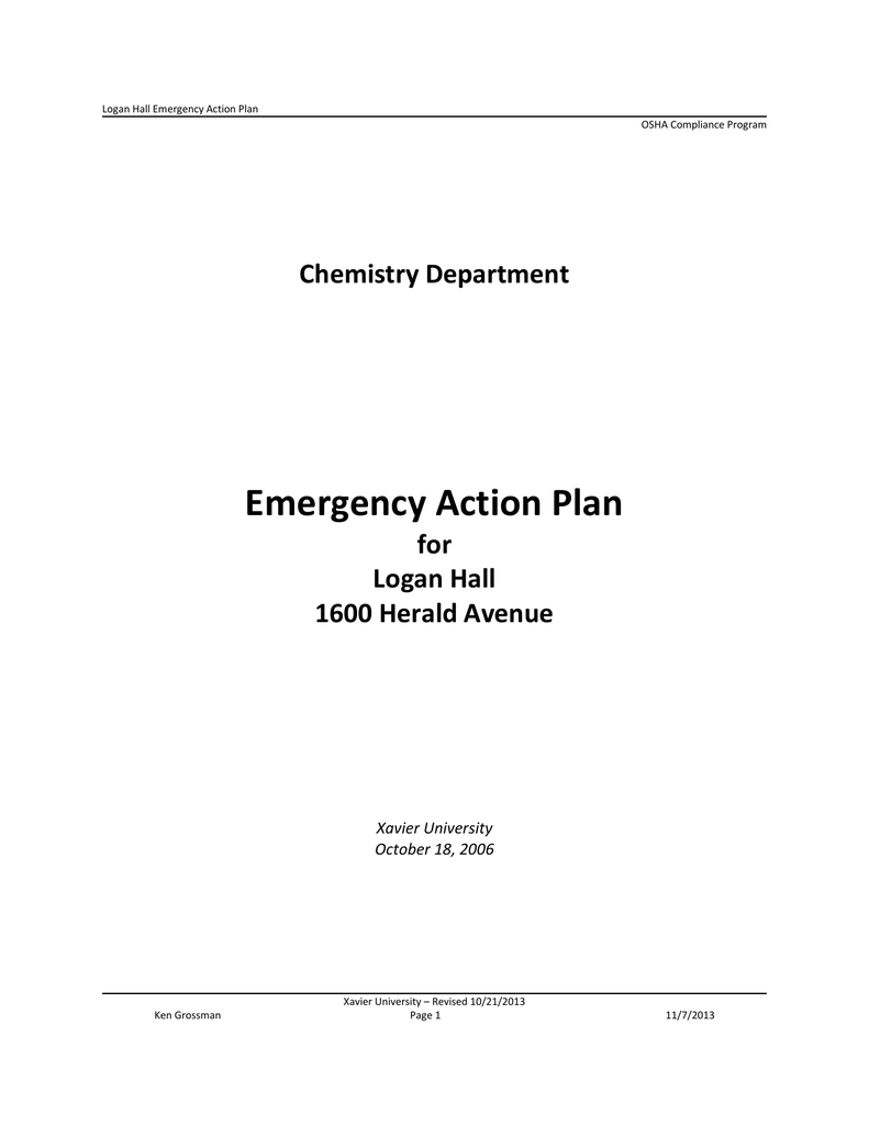 Emergency Action Plan Chemistry Department for Logan Hall