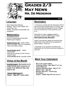 Grades 2/3 May News Ms. De Medeiros :