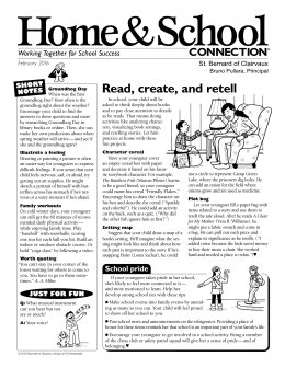 Home&School Read, create, and retell CONNECTION Working Together for School Success