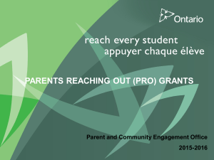 PARENTS REACHING OUT (PRO) GRANTS PUT TITLE HERE 2015-2016