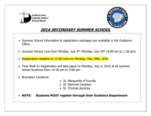 2016 SECONDARY SUMMER SCHOOL