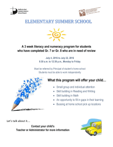 A 3 week literacy and numeracy program for students