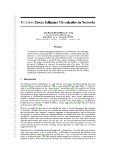 C E : Influence Minimization in Networks UTTING