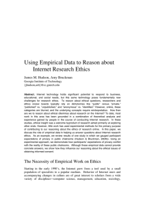 Using Empirical Data to Reason about Internet Research Ethics