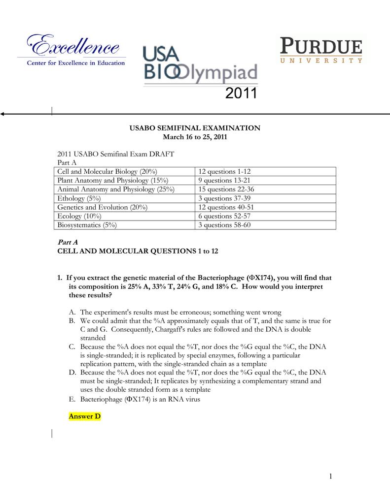 2011 USABO Semifinal Exam DRAFT Part A Cell and Molecular Biology (20%)