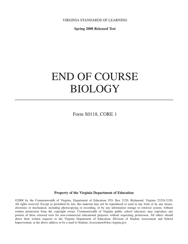 End of course biology form s0118 core 1 virginia standards of learning ccuart Gallery