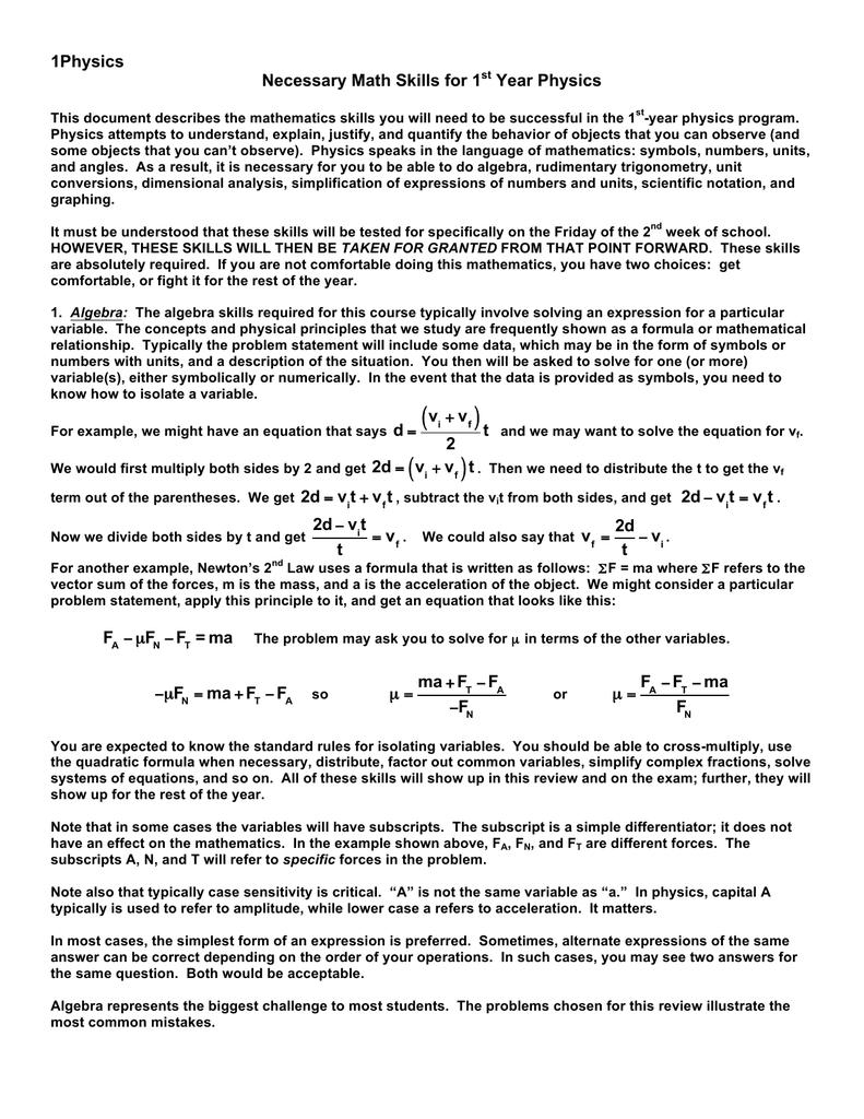 1Physics Necessary Math Skills for 1 Year Physics