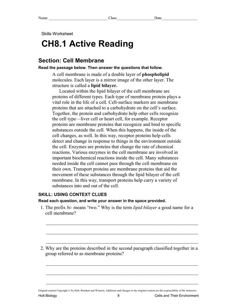 Worksheets Holt Biology Worksheet Answers ch8 1 active reading section cell membrane