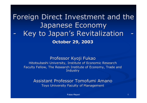 Foreign Direct Investment and the Japanese Economy - Key to Japan's Revitalization