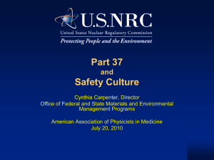 Part 37 Safety Culture and