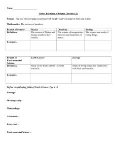 Name Notes: Branches of Science (Section 1.1) Science Mathematics-