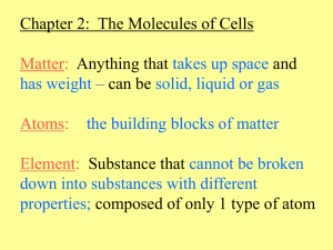 Chapter 2:  The Molecules of Cells Anything that and can be