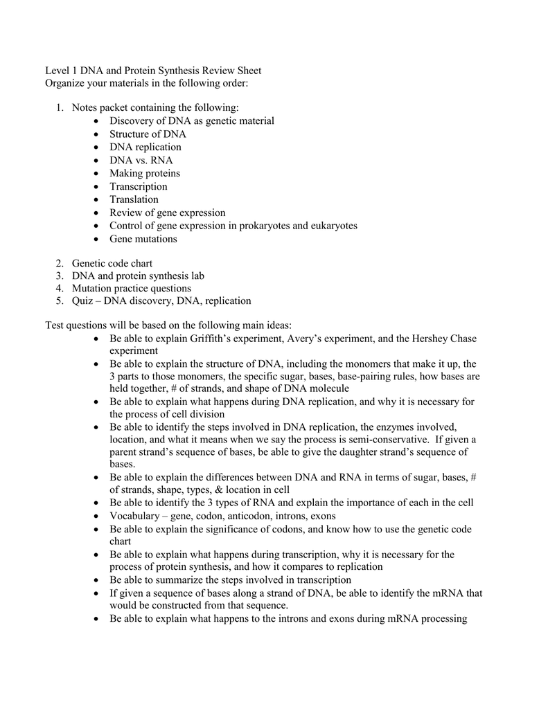 worksheet Dna Replication Review Worksheet level 1 dna and protein synthesis review sheet