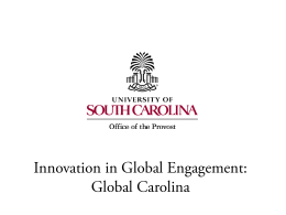Innovation in Global Engagement: Global Carolina