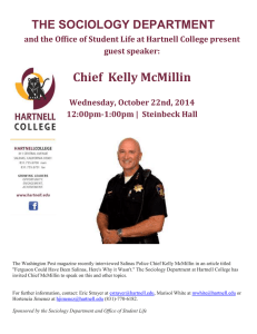 Chief  Kelly McMillin THE SOCIOLOGY DEPARTMENT