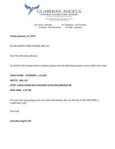 Friday, January 22, 2016  RE: BUS ROUTE TIME CHANGE, ANG.101 Dear Parent(s)/Guardian(s),
