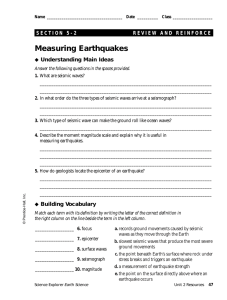 Measuring Earthquakes Understanding Main Ideas