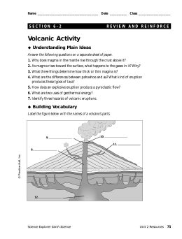 Volcanic Activity Understanding Main Ideas Building Vocabulary
