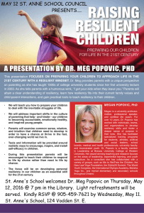 RAISING RESILIENT CHILDREN A PRESENTATION BY DR. MEG POPOVIC, PHD
