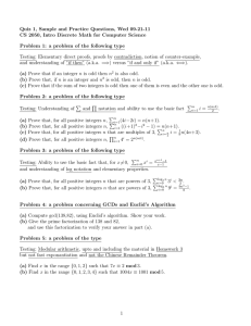 Quiz 1, Sample and Practice Questions, Wed 09-21-11