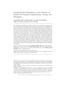 Classifying Data Dependences in the Presence of Debugging