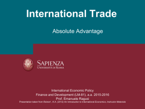 International Trade Absolute Advantage International Economic Policy Finance and Development (LM-81), a.a. 2015-2016