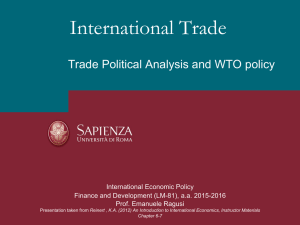 International Trade Trade Political Analysis and WTO policy International Economic Policy