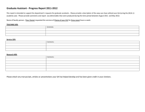 Graduate Assistant - Progress Report 2011-2012