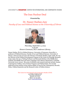 The Iran Nuclear Deal Dr. Nasser Hadian-Jazy