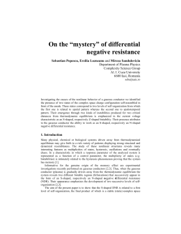 "On the ""mystery"" of differential negative resistance Sebastian Popescu, Erzilia Lozneanu"