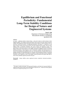 Equilibrium and Functional Periodicity: Fundamental Long-Term Stability Conditions for Design of Nature and