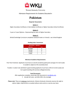 Pakistan Western Kentucky University Admission Requirements for Students Educated in