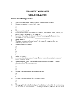 PRE-HISTORY WORKSHEET WORLD CIVILIZATION