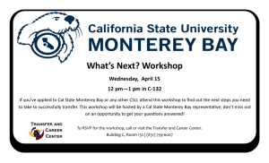 What's Next? Workshop Wednesday,  April 15 12 pm—1 pm in C-132