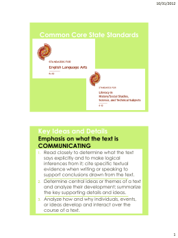 Common Core State Standards Key Ideas and Details