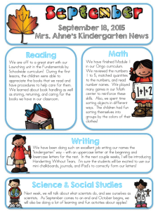 Math Reading September 18, 2015 Mrs. Ahne's Kindergarten News