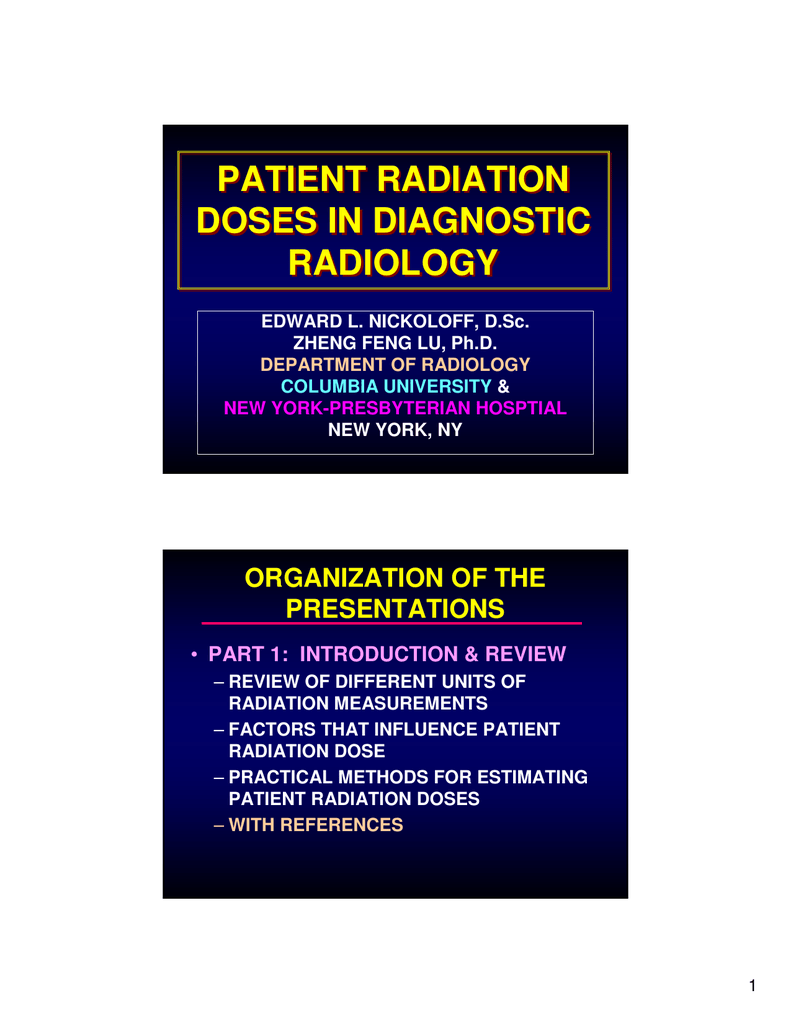 PATIENT RADIATION DOSES IN DIAGNOSTIC RADIOLOGY ORGANIZATION OF THE